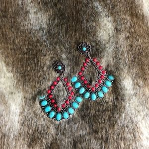 New Turquoise & Red Stud Earrings
